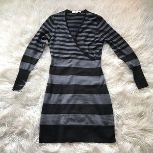 LOFT MERINO BLEND GREY BLACK STRIPED SWEATER DRESS